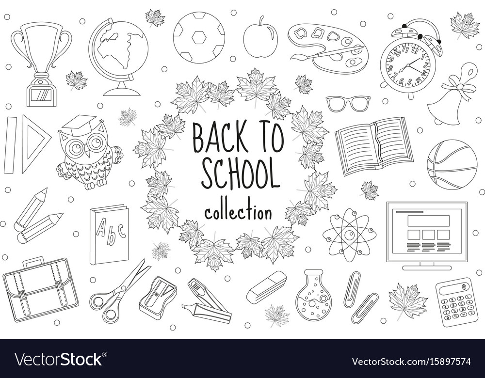 Back to school set of icons line style education