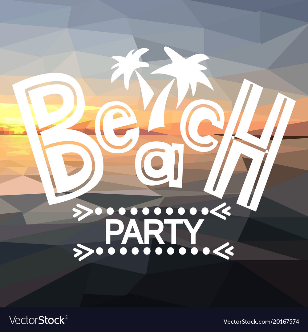 Beach party with polygonal sunset
