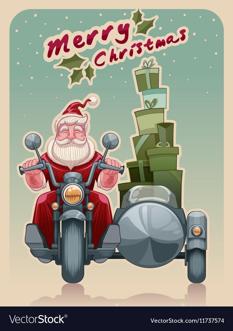 Biker santa vector image