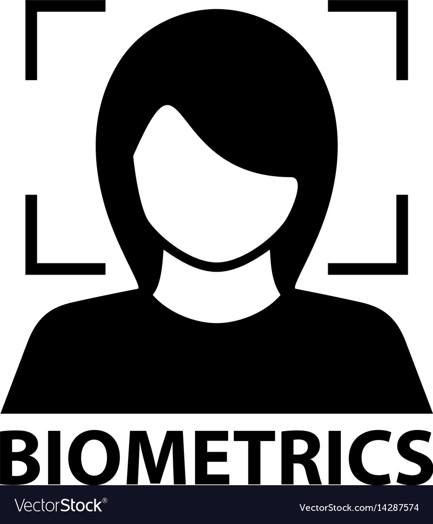 Biometrics face recognition black symbol