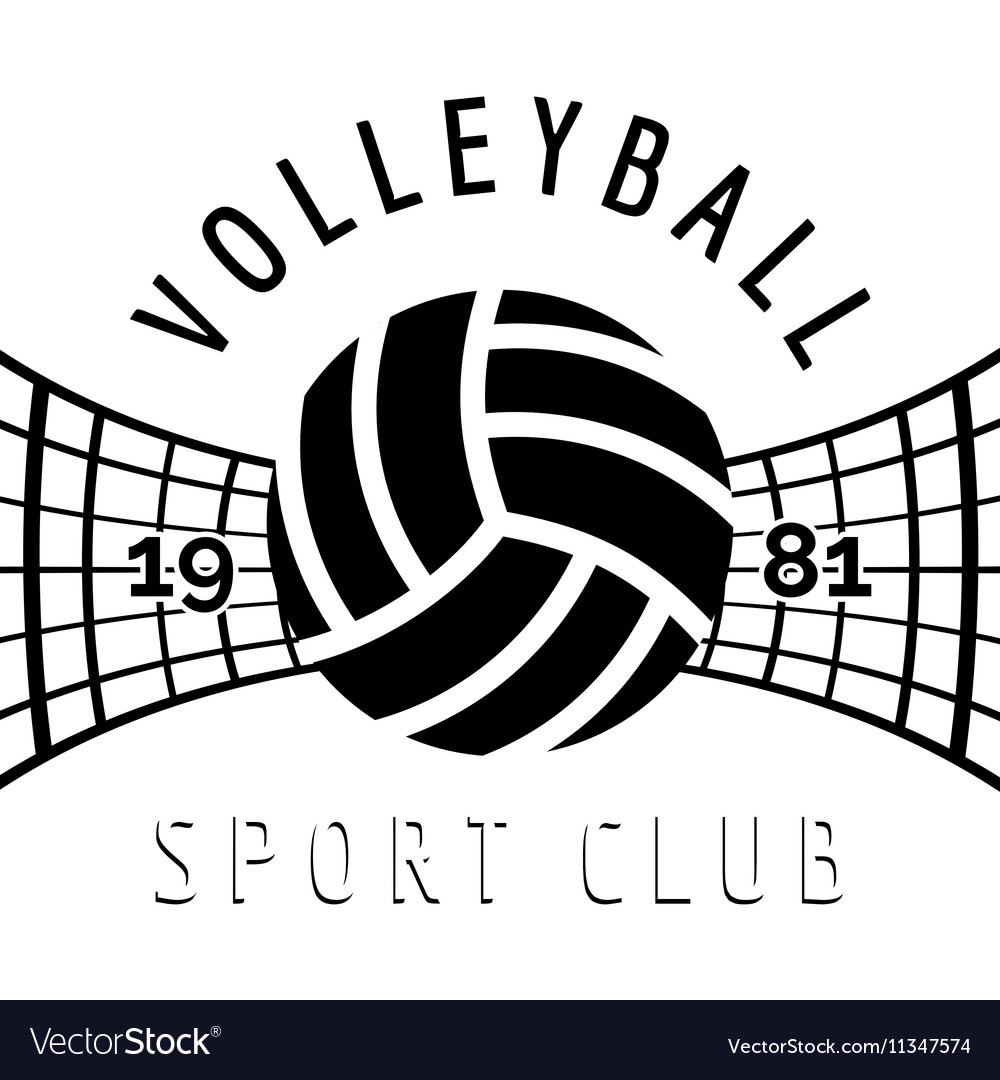 Black and white volleyball emblem