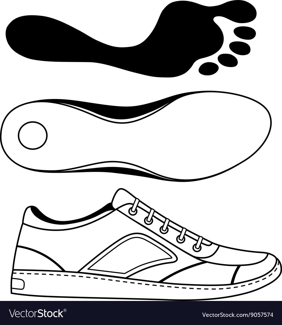 Black outlined sneakers shoe sole
