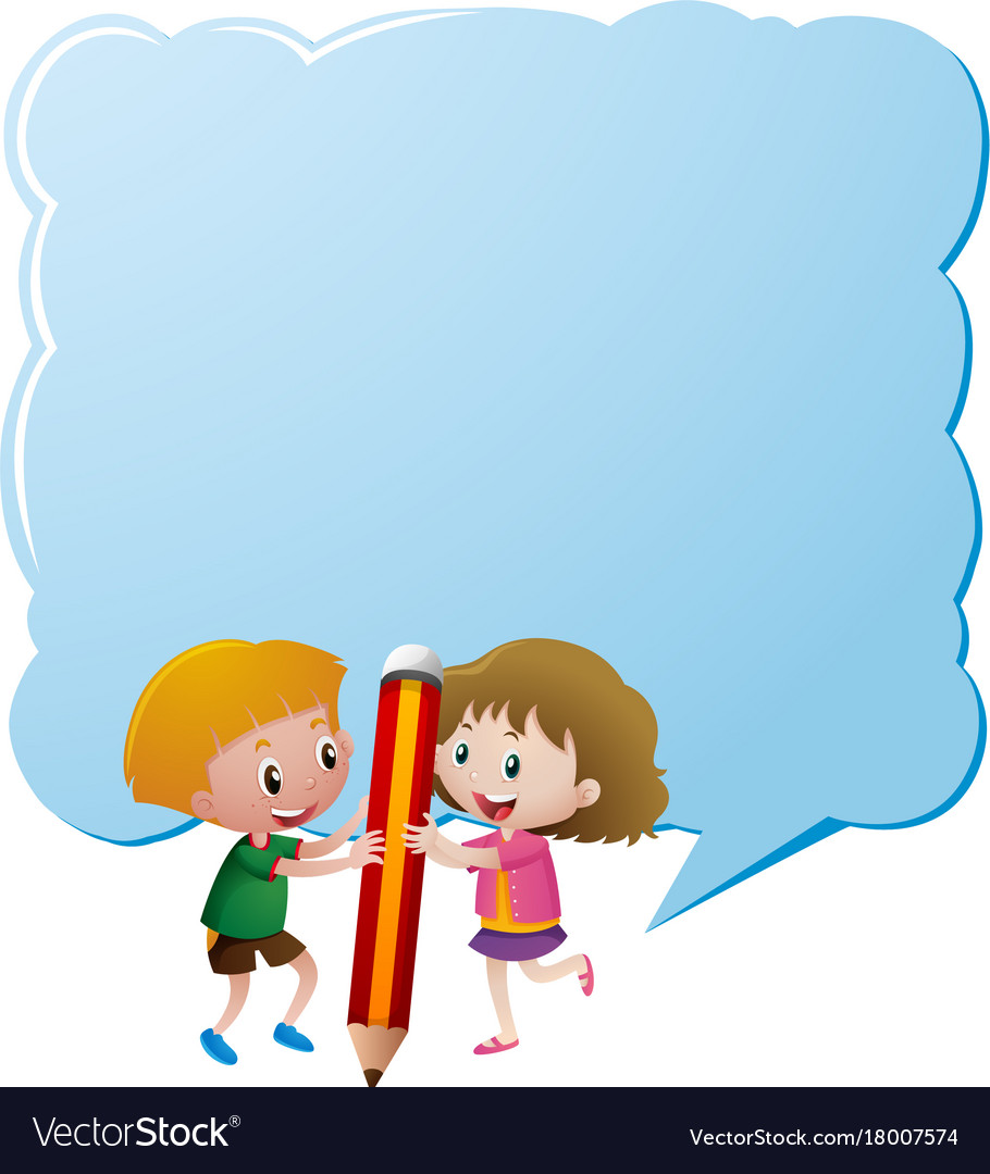 border template with kids and giant pencil vector image
