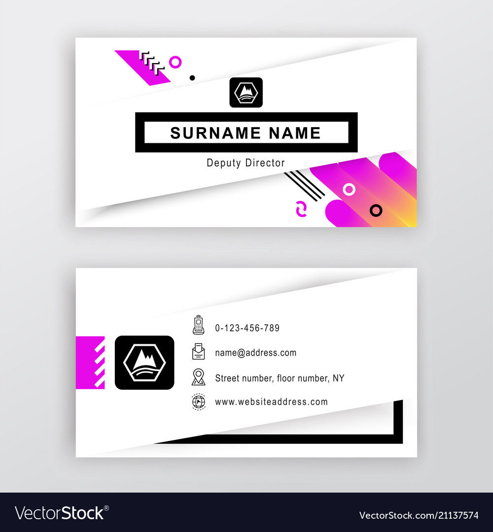 Business card white background with logo