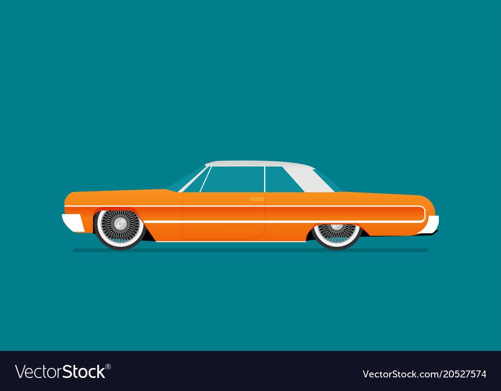 Flat Lowrider Car Icon Vector Image