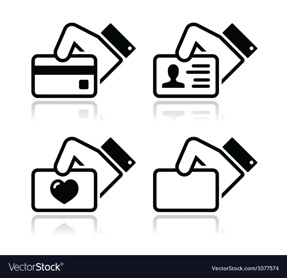 Hand holding credit card business card id icons vector image reheart Gallery