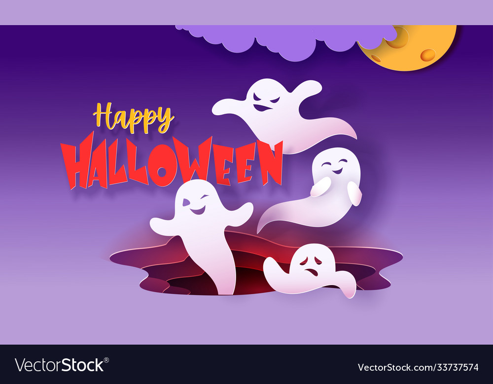 Happy halloween banner with ghosts flying in paper