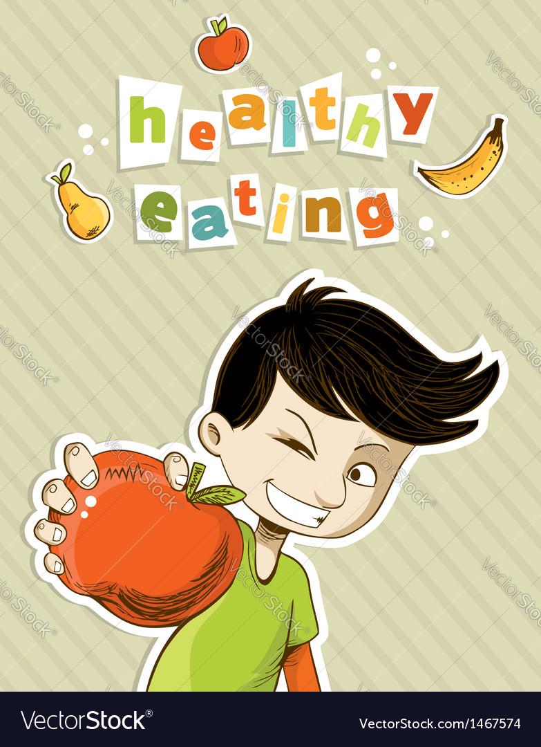 Happy teenager present healthy food vector image