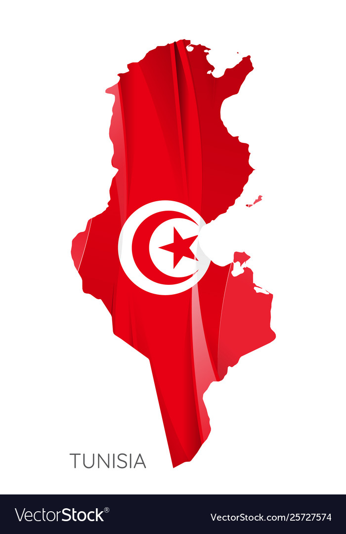 Map tunisia federation with national flag