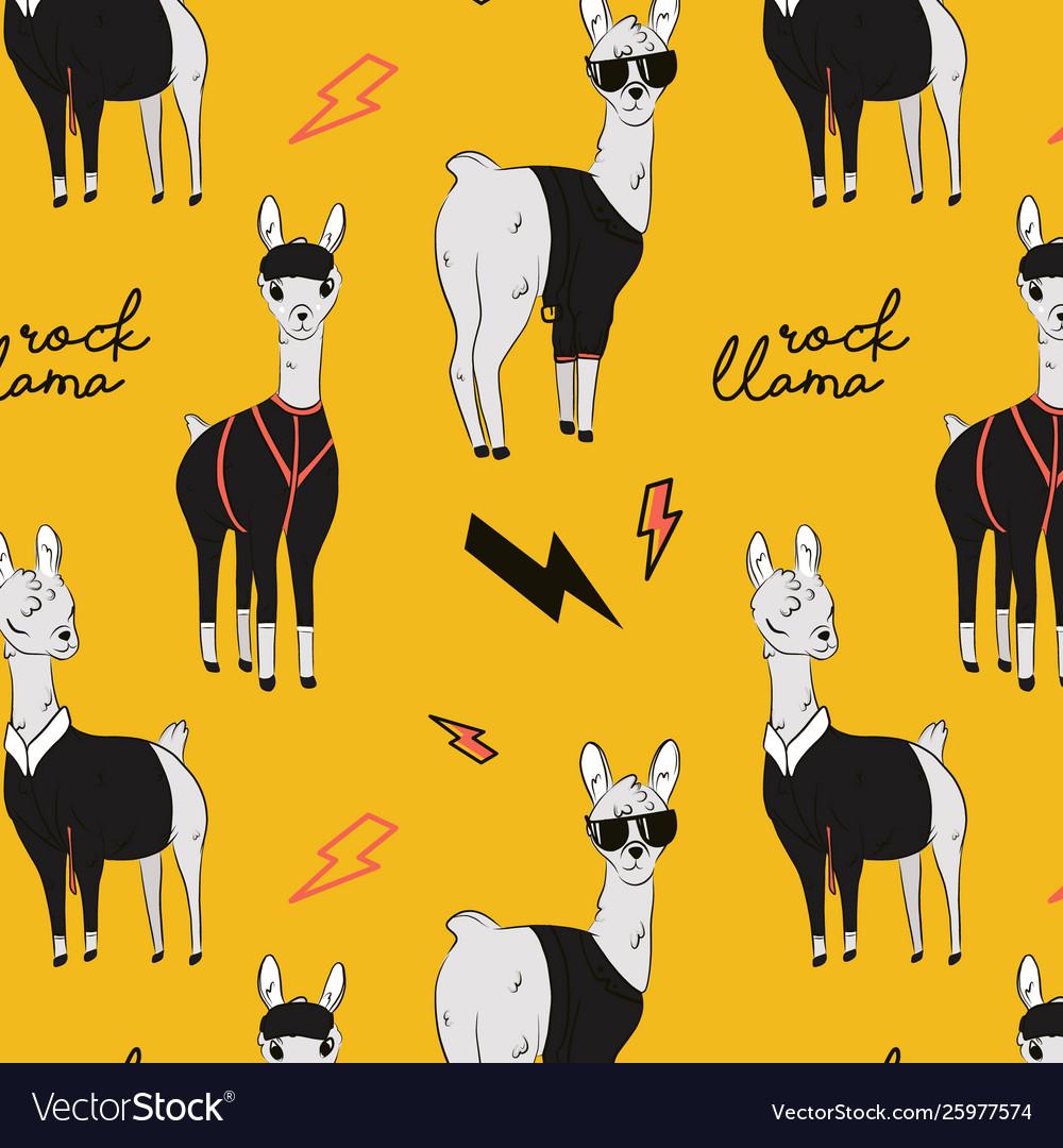 Rock llama cartoon alpaca character in rock