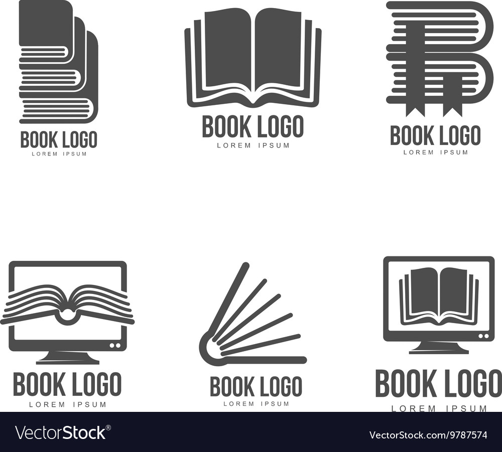 Set of black and white book logo designs