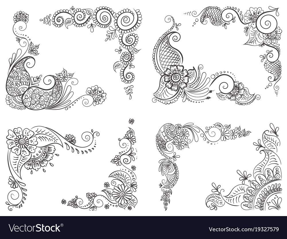 Abstract Pattern Of A Tattoo Henna Royalty Free Vector Image