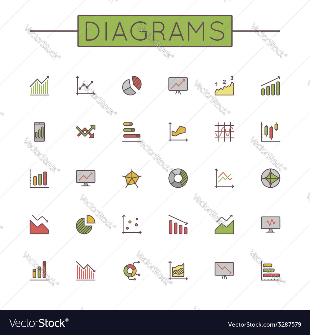 Colored Diagrams Line Icons