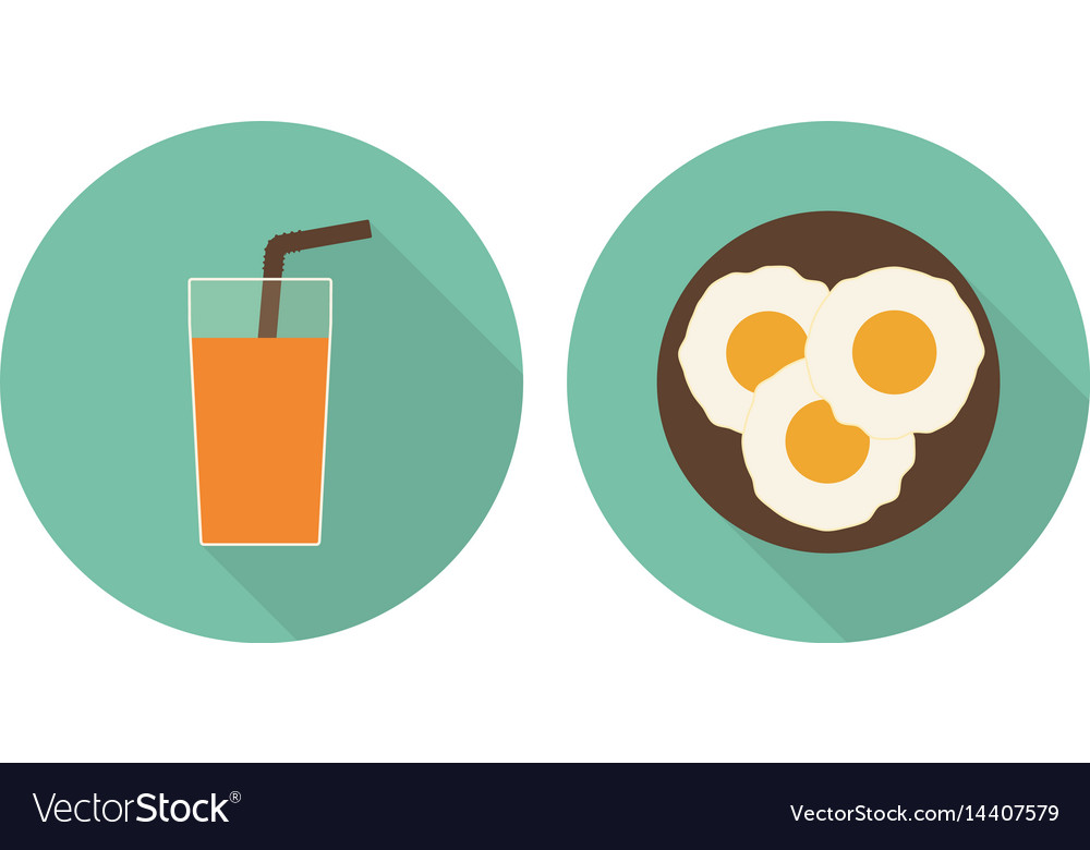 Flat glass of orange juice and fried eggs