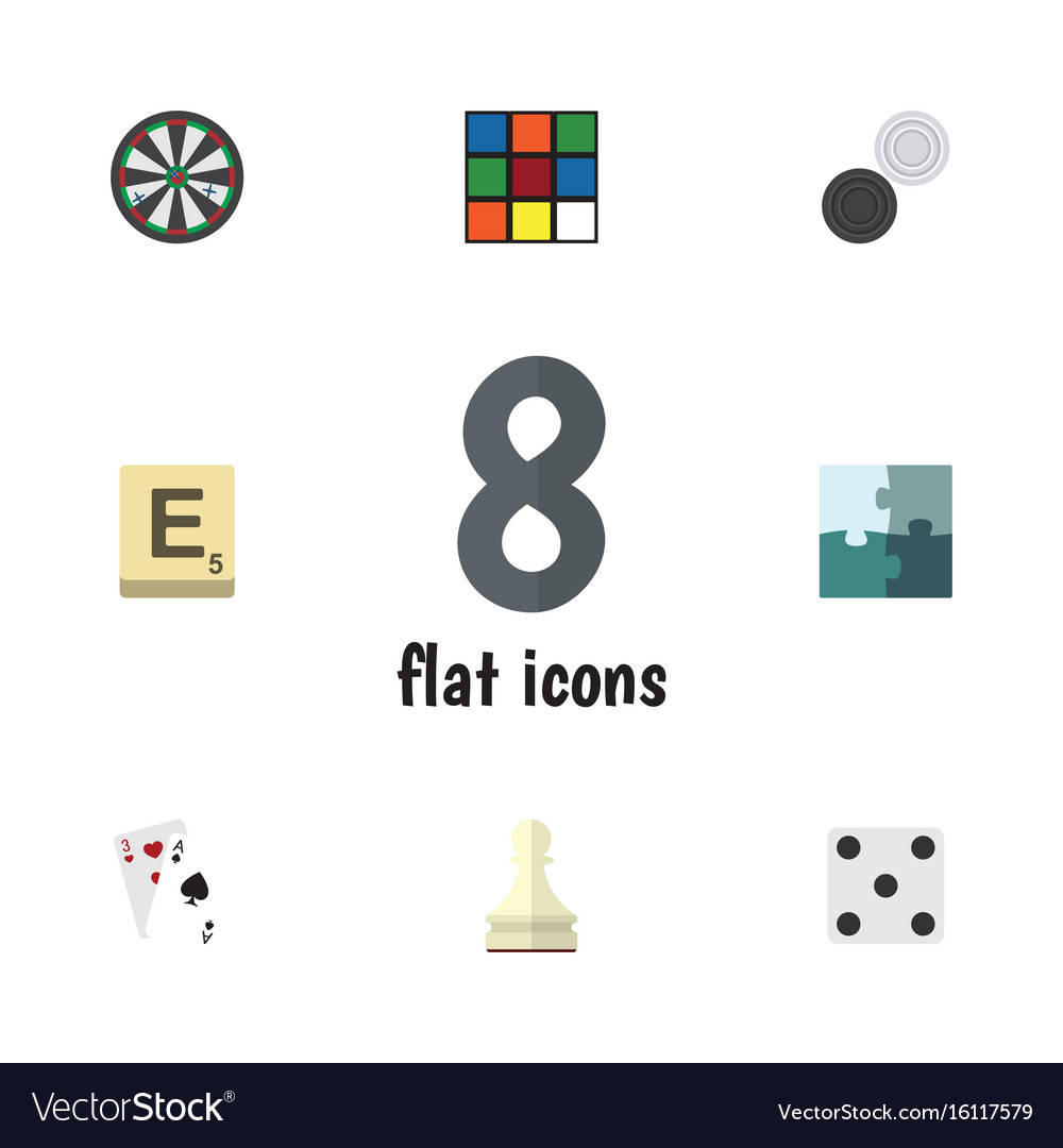 Flat icon play set of jigsaw chequer ace and