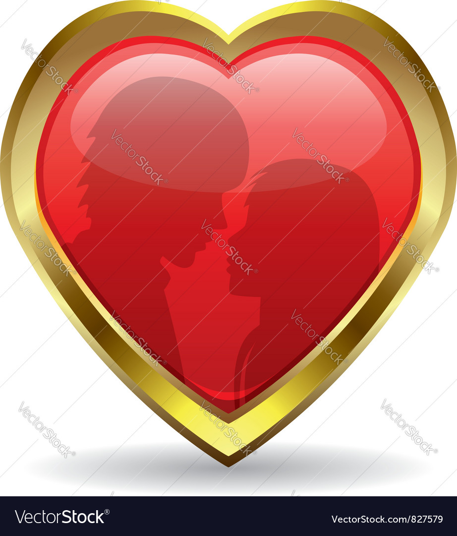 Golden heart with reflection