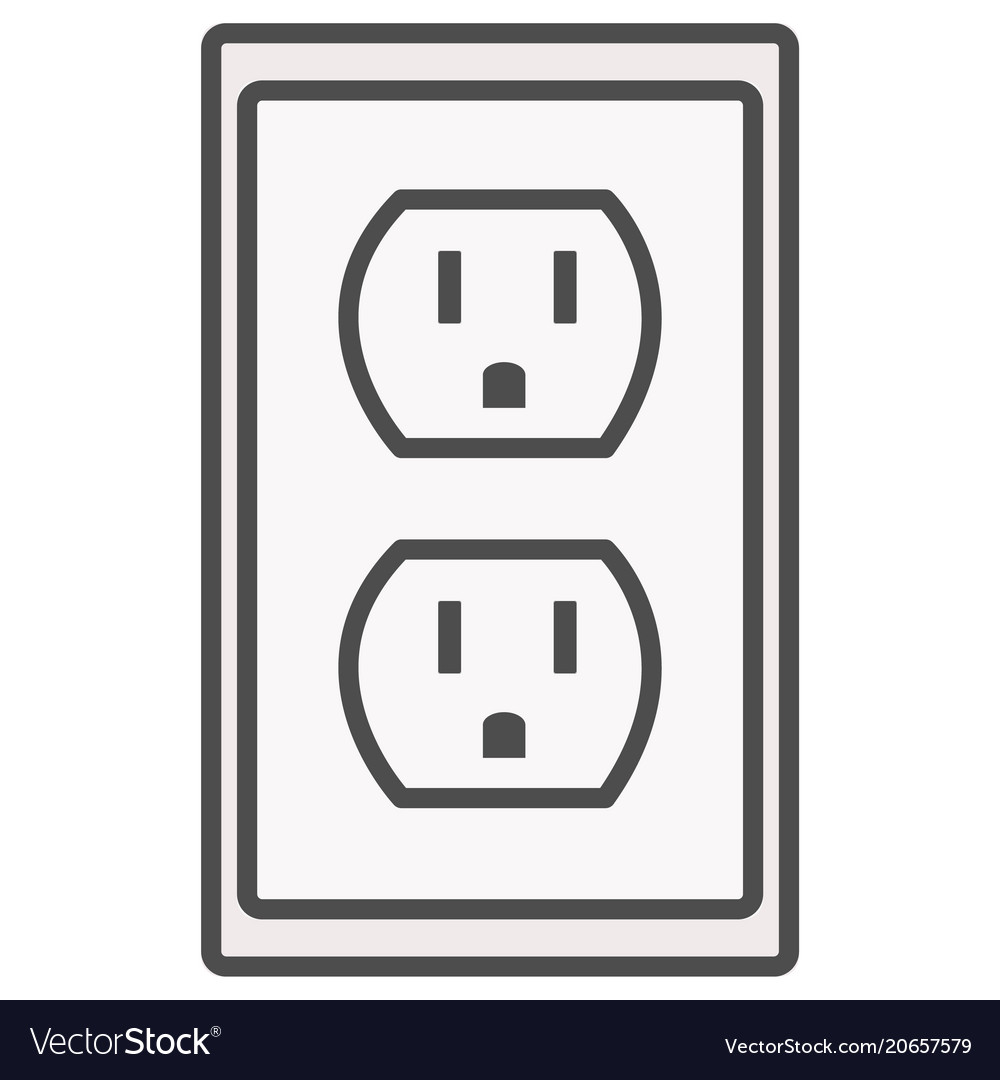 Grounded Power Outlets Symbol White Socket Vector Image