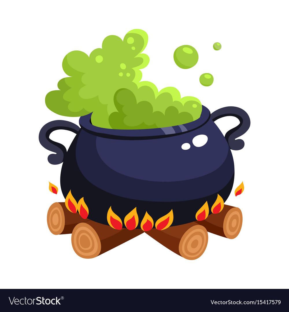 Halloween caldron cauldron with boiling green vector image