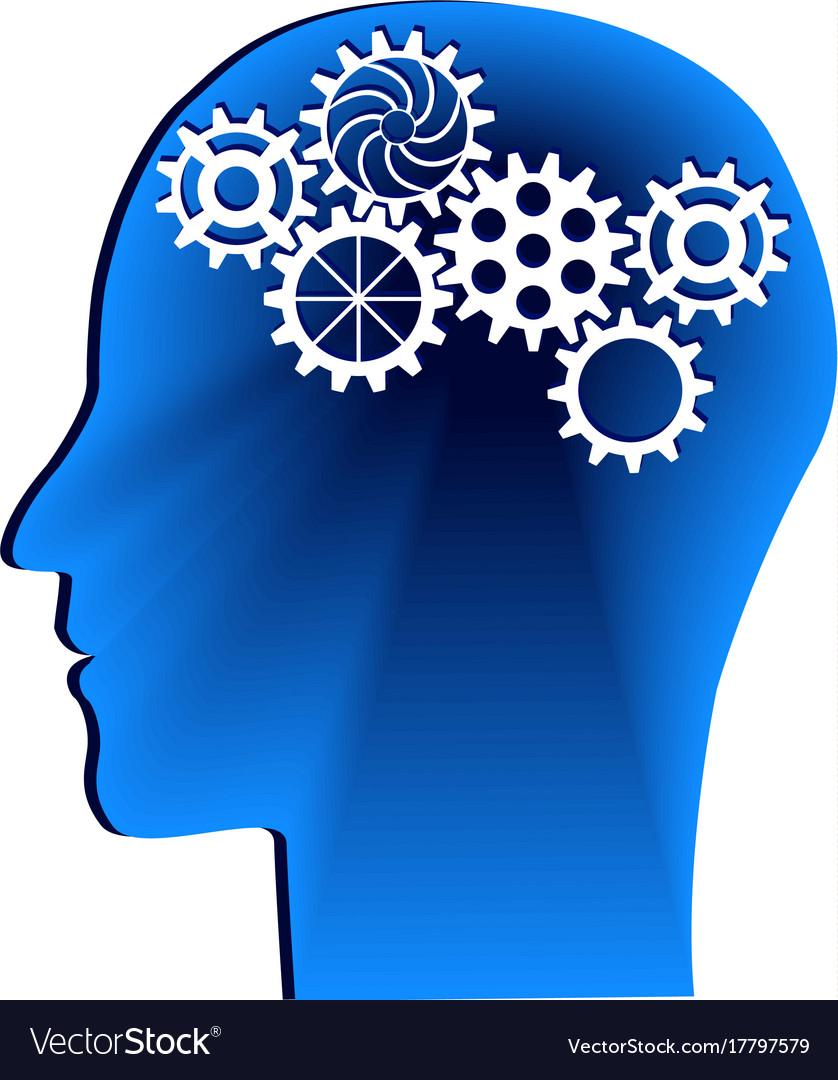 Human head with gears head thinkingidea concept vector image