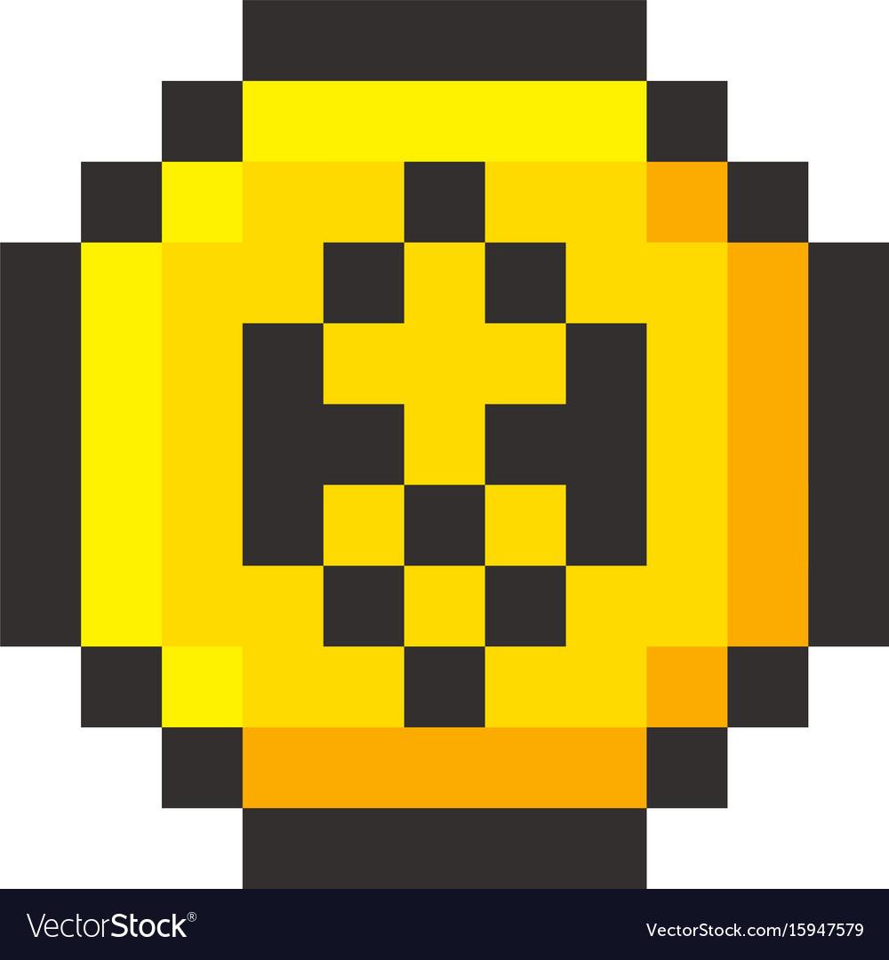 Pixel ethereum cripto currency blockchain golden vector image