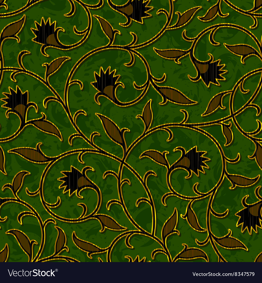 Seamless floral dark green damask pattern