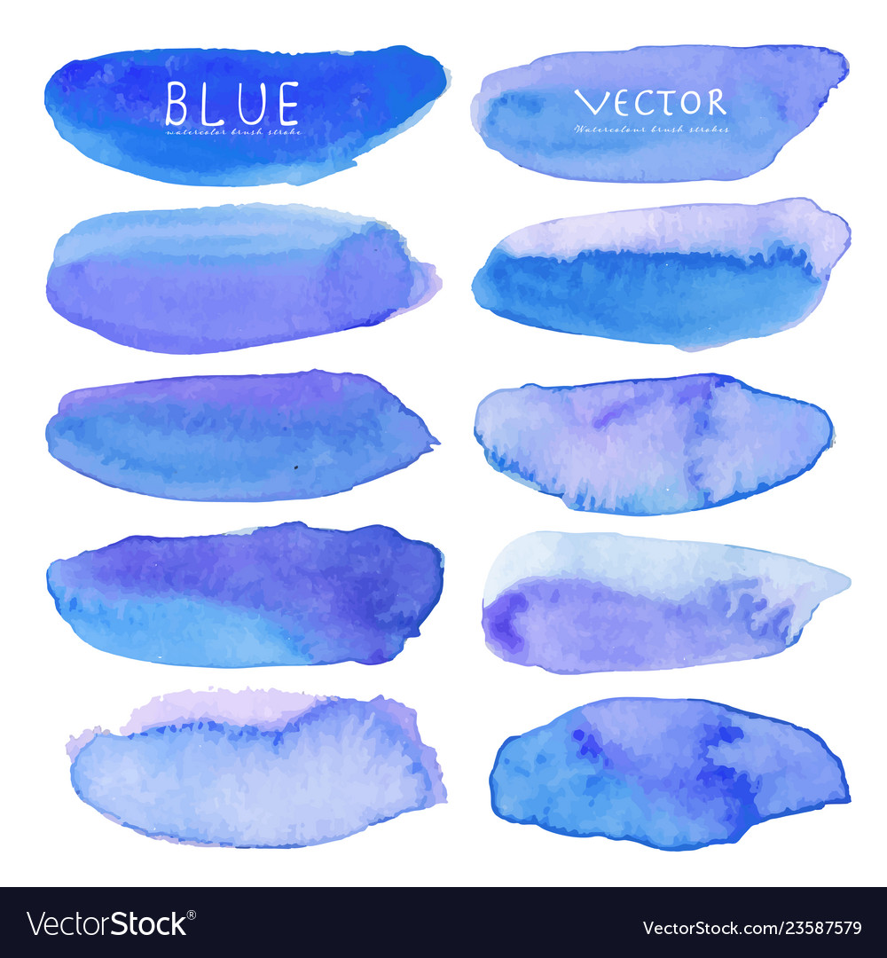 Set of blue watercolor on white background
