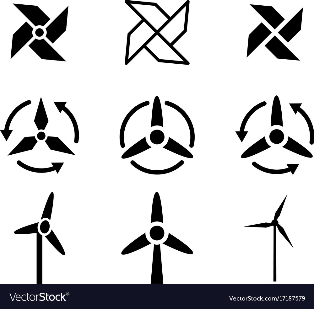 Set of fan and wind energy icons