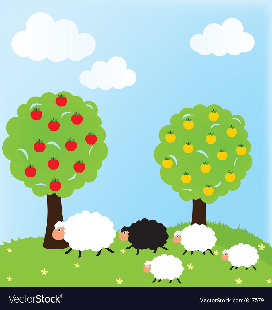 Sheep and nature vector image
