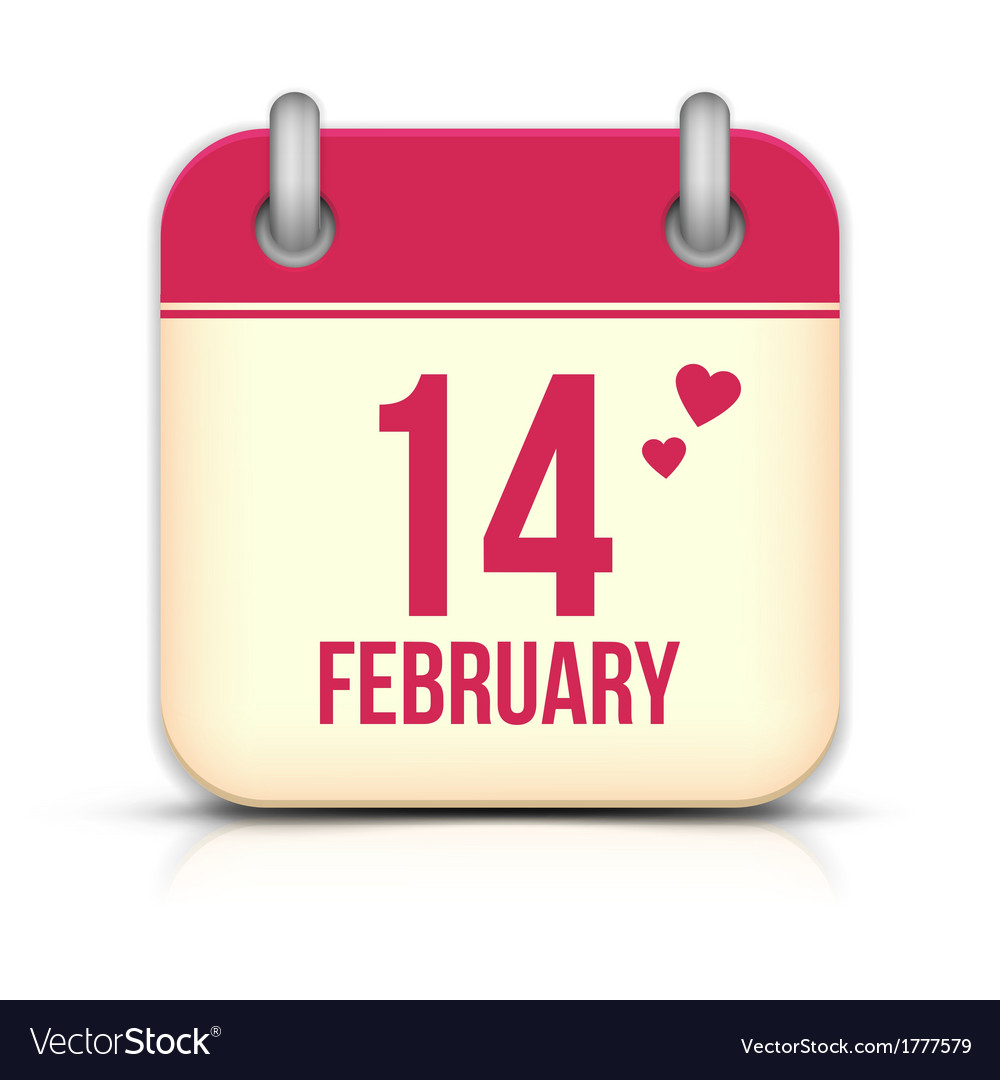 Valentines day calendar icon with reflection 14