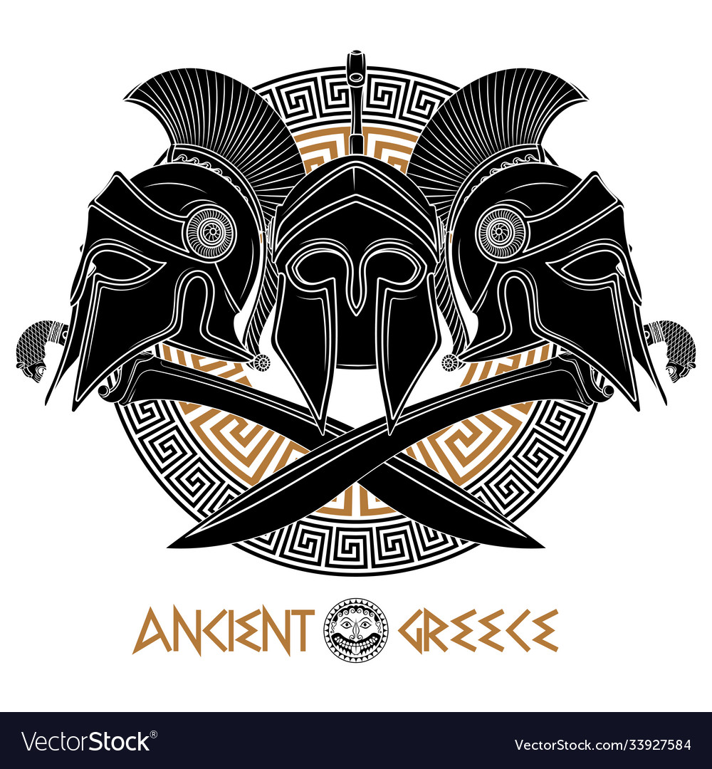 Ancient hellenic helmet two crossed greek
