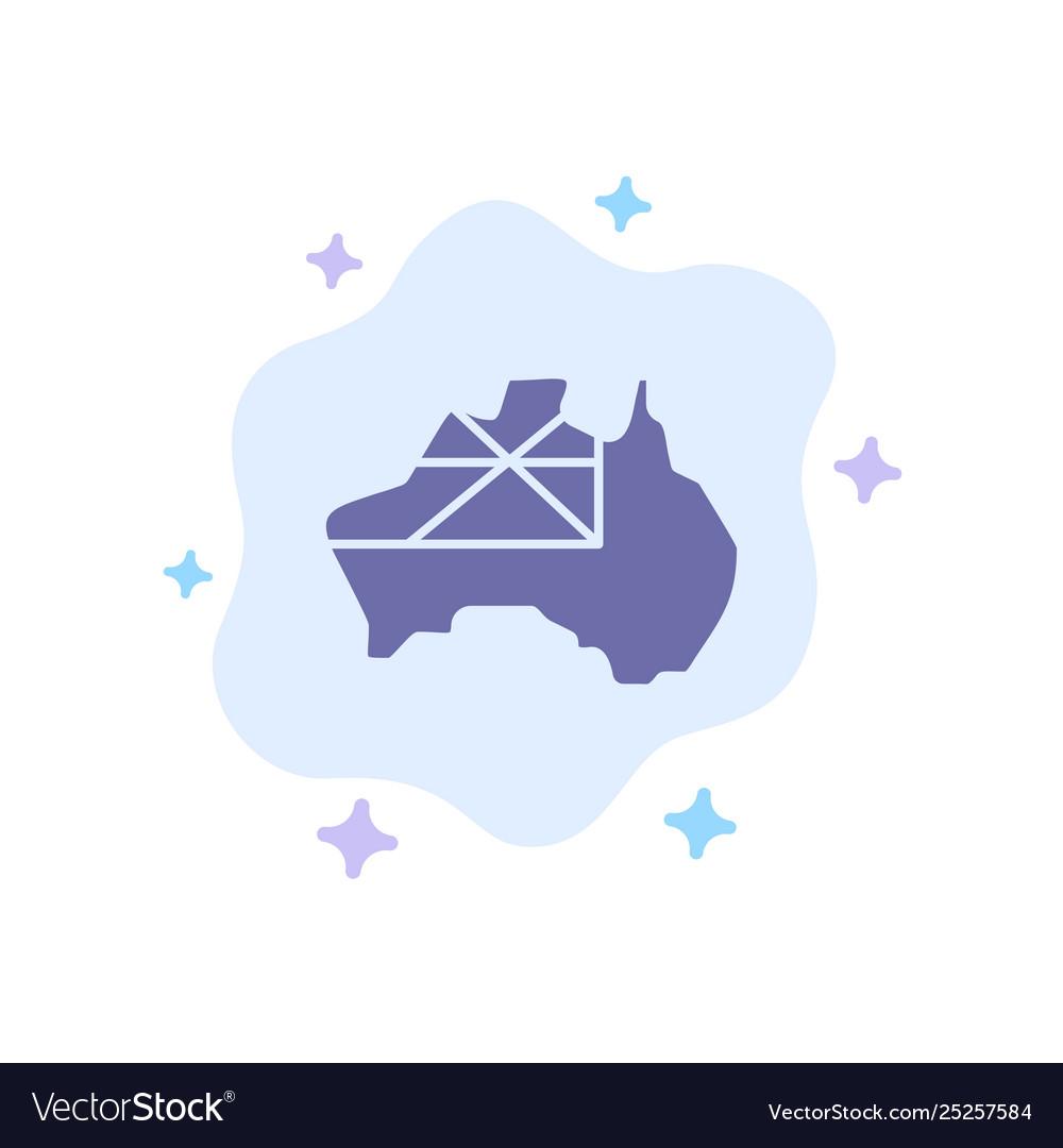 Australia Map Icon.Australia Map Country Flag Blue Icon On Abstract
