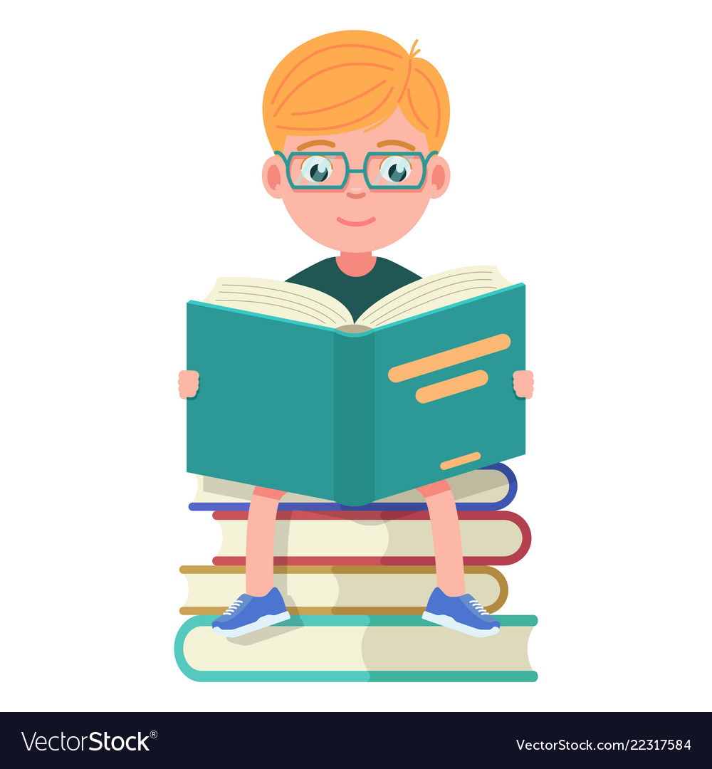 boy with glasses sitting and reading books vector image vectorstock