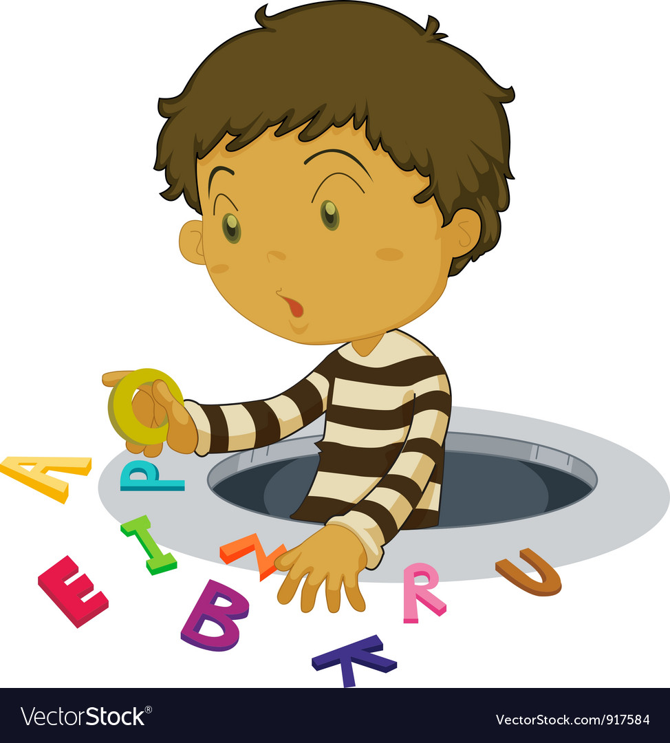 Boy with letters vector image