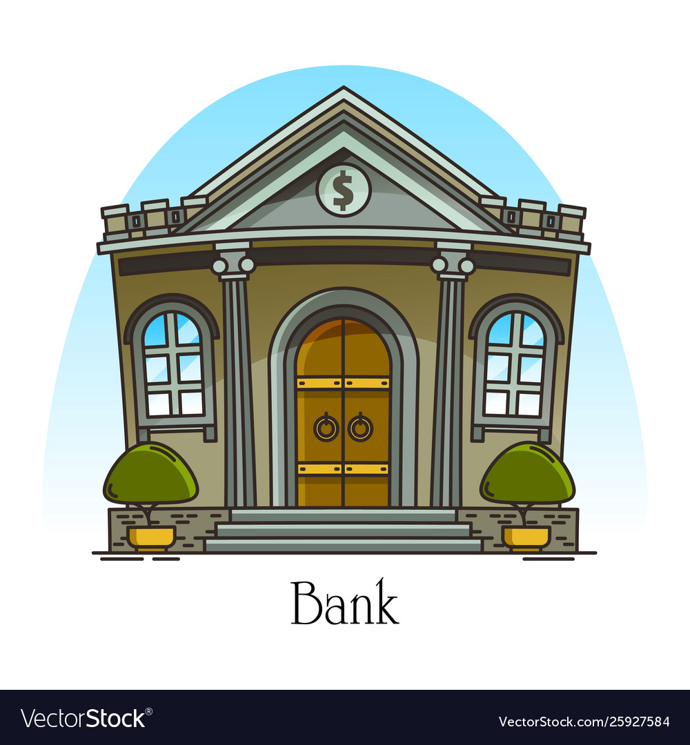 Cartoon bank building with columns banking