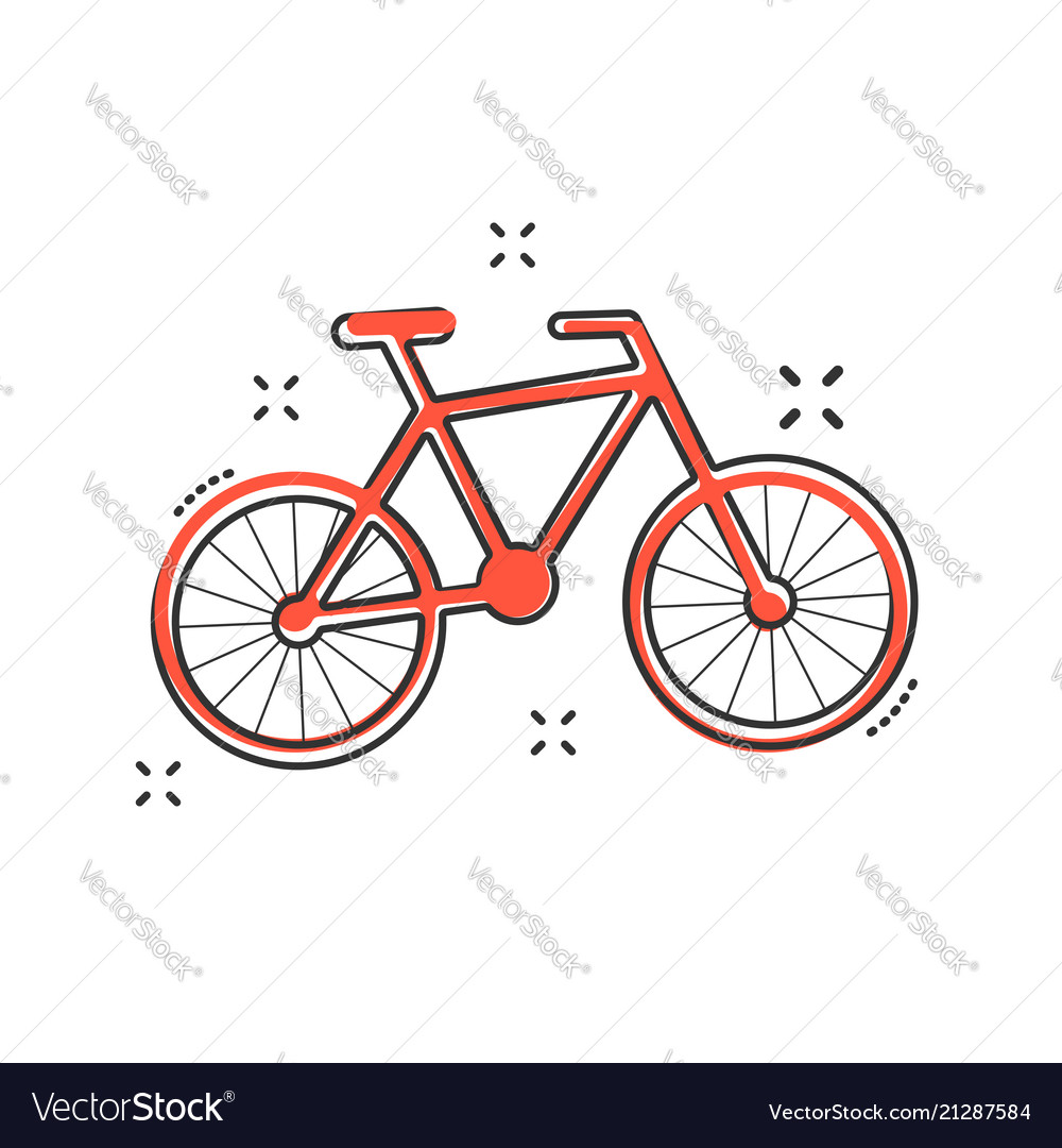 Cartoon bike icon in comic style bicycle sign