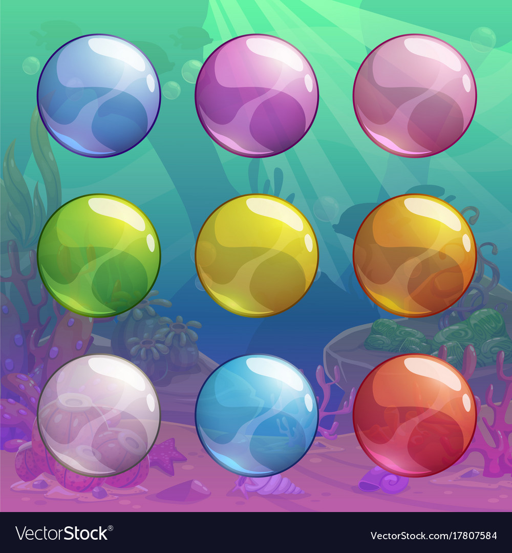 Colorful cartoon glossy transparent bubbles set