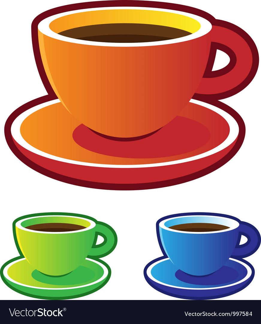colorful coffee cups royalty free vector image