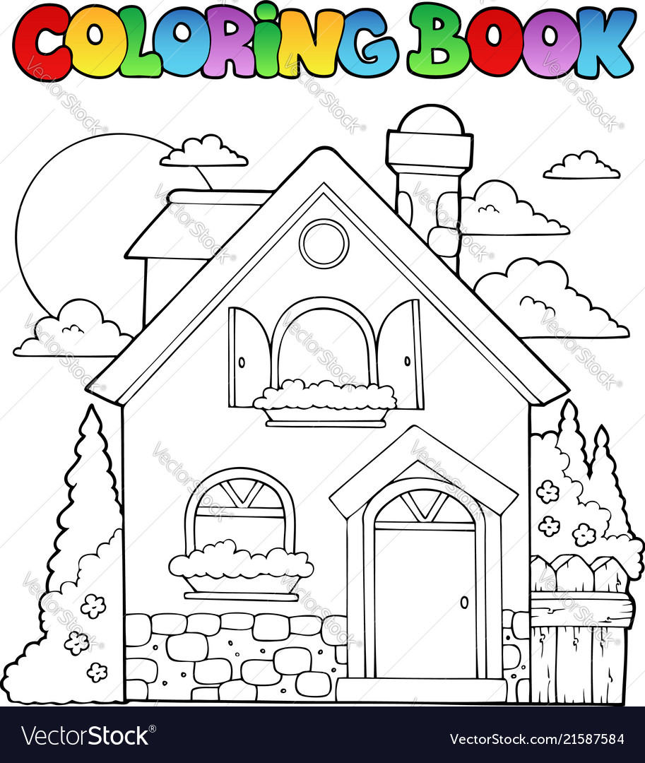 - Coloring Book House Theme Image 1 Royalty Free Vector Image