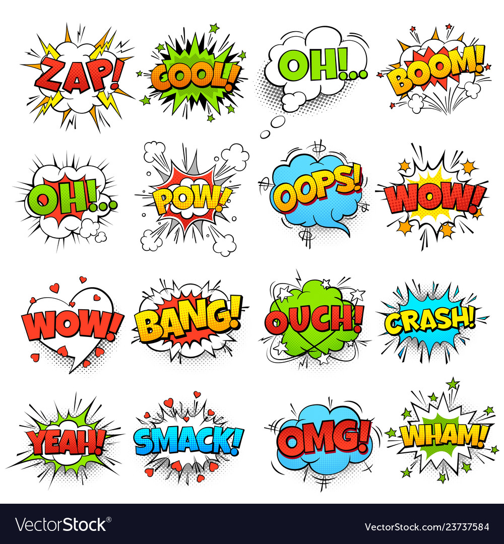 Comic words cartoon boom crash speech bubble