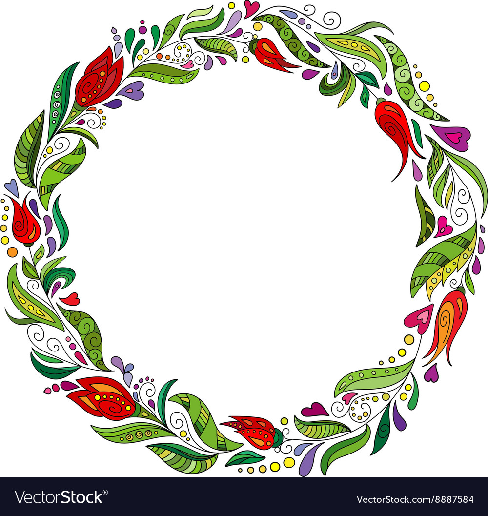 Detailed contour wreath with herbs tulips and