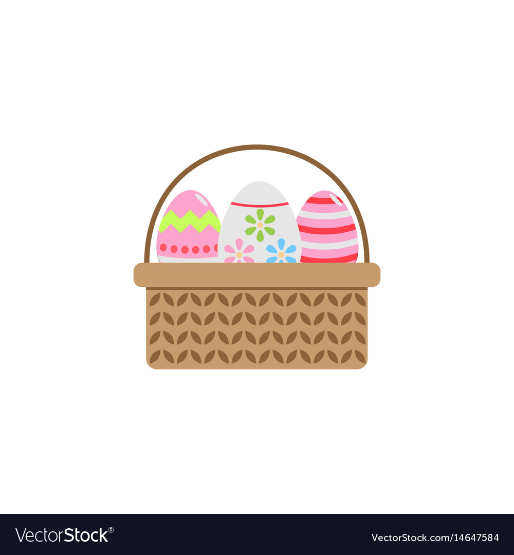 Easter eggs in basket flat icon religion holiday