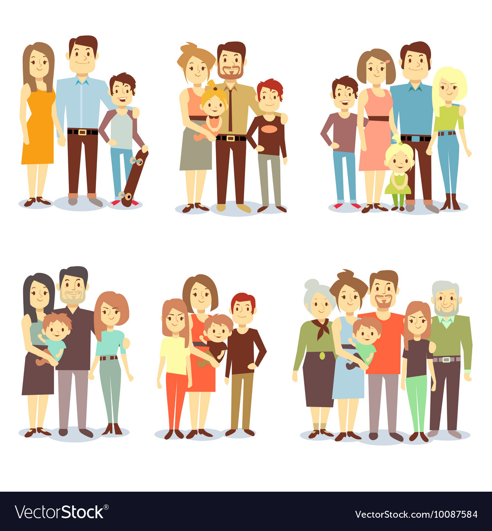 Families different types flat icons set