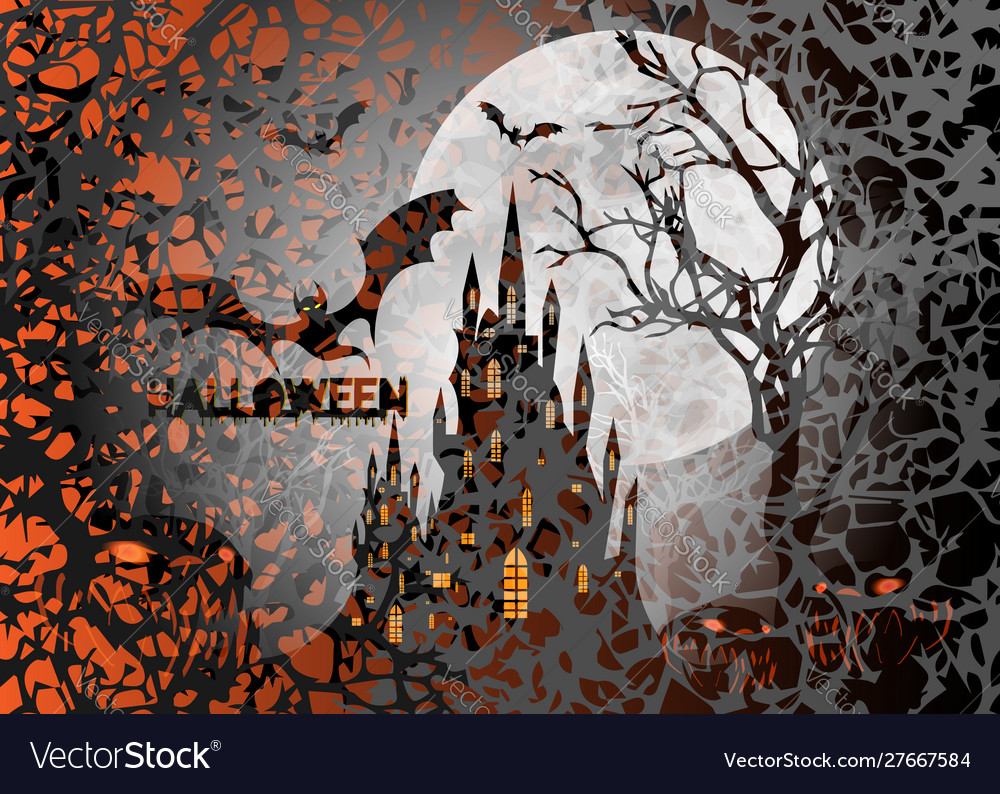 Halloween party scary bats and gothic castle