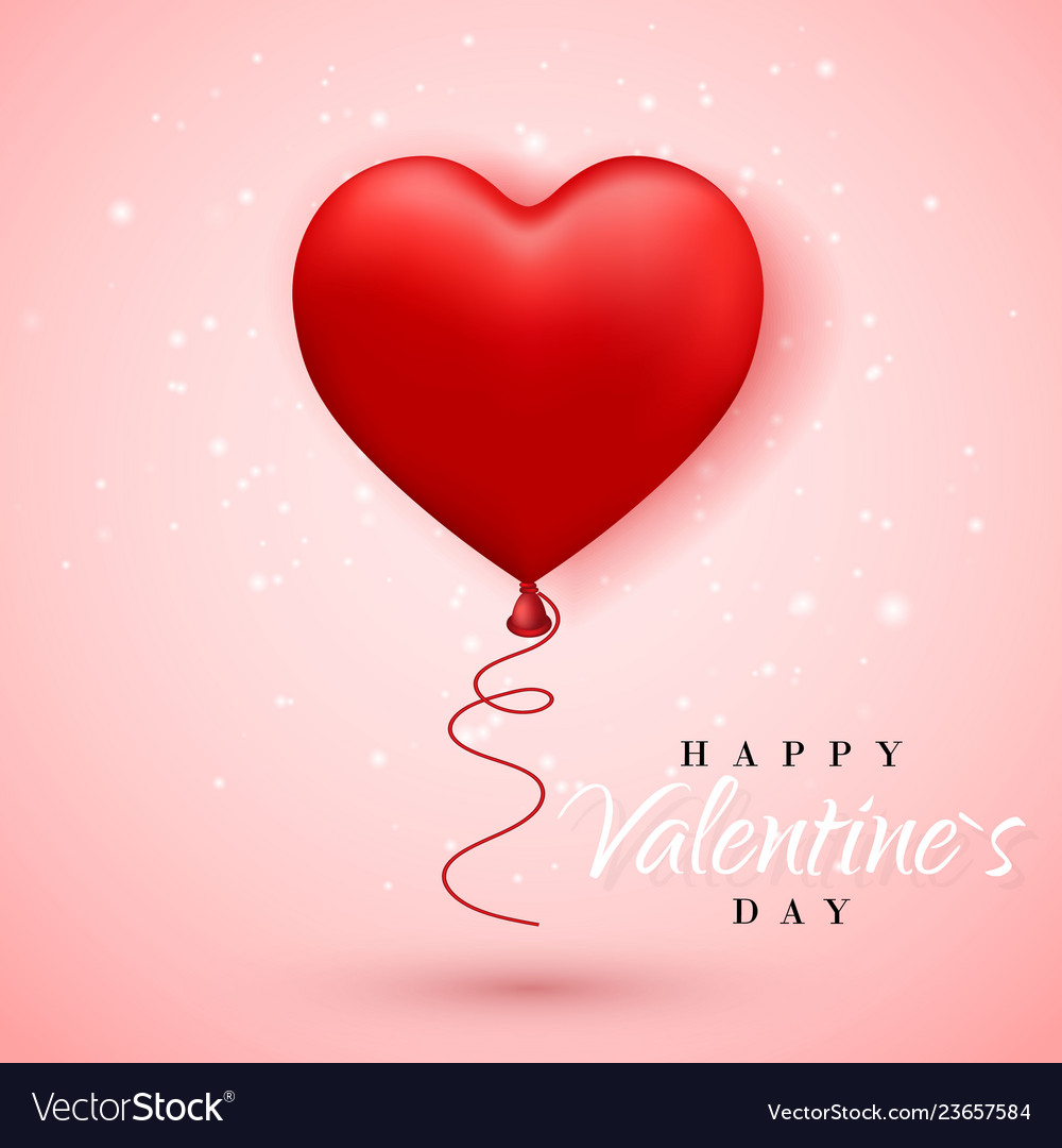 Happy valentines day red balloon in form of heart