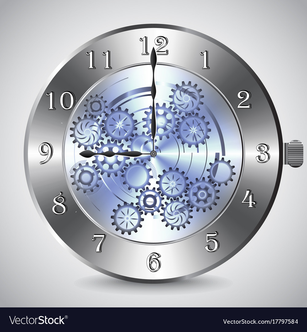 Metal mechanical clock with gears on grey vector image