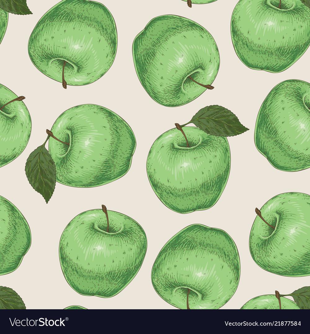 Seamless pattern green apples