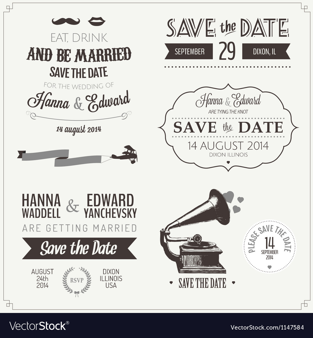 Set of wedding invitation vintage design elements vector image stopboris Images