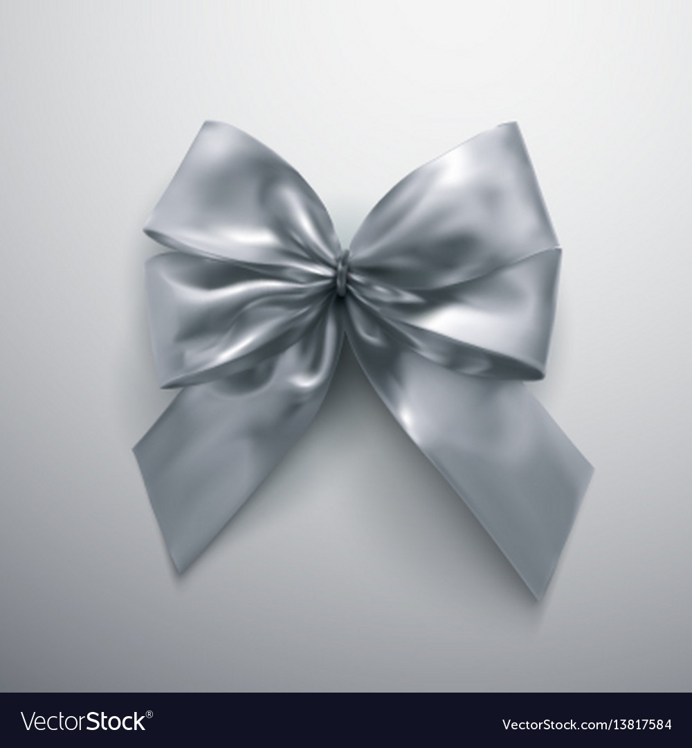Silver bow and ribbons vector image