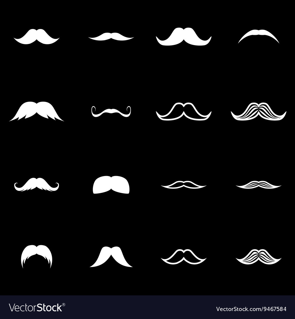 White moustaches icon set