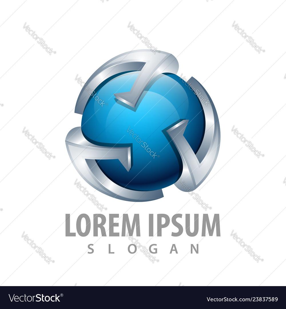 3d blue sphere logo concept design symbol graphic